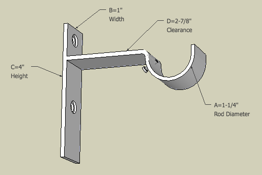 Vertical drapery bracket showing customizable sizes